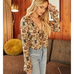 Lani the label floral bell sleeve crop top